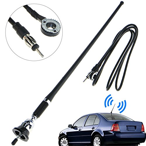 16.9 Inch Car FM AM Radio Antenna, Linkstyle Flexible Mast Radio FM/AM Antenna Universal Car Stereo Auto Roof Fender Radio AM FM Wing Mount Signal Aerial Antenna with Antenna Extension Cable