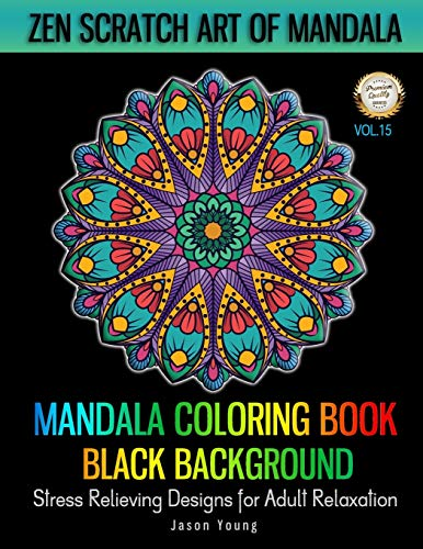Mandala Coloring book Black Background - Zen Scratch Art Of...