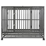 SmithBuilt 36' Medium Heavy-Duty Dog Crate Cage - Two-Door Indoor Outdoor Pet & Animal Kennel with Tray - Silver