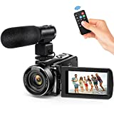 Andoer Video Camera Camcorder, Digital Video Camcorder FHD 1080P Video Camera Infrared Night Vision 3.0' Rotating LCD Screen 16X Digital Zoom Remote Control with Microphone and Remote Control