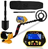 Metal Detector, High Accuracy Adjustable Detectors with Waterproof Coil, LCD Display, Pinpoint/DISC/All Metal Mode, Lightweight Handheld Gold Silver Locator for Adults and Kids