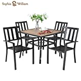 "Sophia & William 5 Piece Outdoor Patio Dining Set Metal Table and Chairs Set with 37"" Wood-Like Table Top and Umbrella Hole"