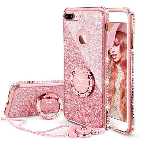 OCYCLONE Funda para iPhone 7 Plus/8 Plus,Purpurina Ultra Slim Soft TPU Fundas con Dimantes Anillo Movil Protector iPhone 7 Plus/8 Plus para Mujer,Oro Rosa