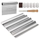 Smart Serve Bread Lame with Wave Baking Pan & Bread Scraper - 3-in-1 Baking Supplies with Cutter, Scorer & Tray for Creating French Baguettes - Baguette Making Tools & Accessories for Artisan Bakers