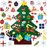 WESJOY Felt Christmas Tree, DIY Wall Christmas Tree with 31 Pcs Detachable Ornaments Wall Decor with Hanging Rope for Toddlers Kids Xmas Gifts Home Door Decoration