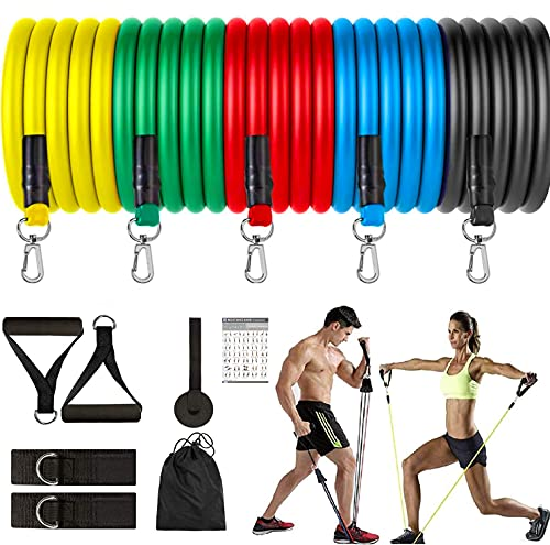 Fashnex Resistance Bands Set for Exercise, Stretching and Workout Toning Tube Kit with Foam Handles,...
