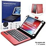 Cooper Infinite Executive Keyboard Case for 7-8' Tablets   2-in-1 Bluetooth Wireless Keyboard & Leather Folio Cover, Universal, 100HR Battery (Red)