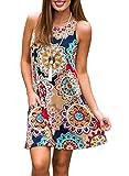 ZESICA Women's Summer Sleeveless Damask Print Pocket Loose T-shirt Dress, Geometric, XX-Large