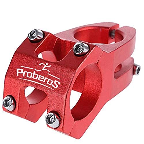 Proberos® 31.8MM Aluminum Alloy Bicycle Bike Handlebar Stem, High-Strength Handlebar Stem Fit for Most Mountain Bike Road Bike MTB BMX Track Bike (Red)