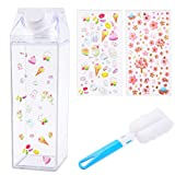 WXJ13 Milk Carton Water Bottle Milk Box Plastic 500ml Portable Cute Cup with 2 Pack Cute Sticker and Cup brush for Outdoor Sports Travel Camping Activities