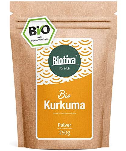 Bio-Kurkuma-Pulver (250g) - hochwertige Kurkumawurzel (Curcuma) gemahlen - Curcumin - wiederverschließbarer Frischebeutel - Abgefüllt in Deutschland (DE-ÖKO-005)