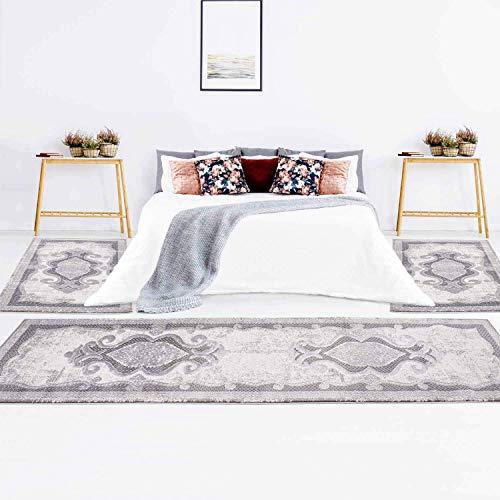 Carpet city Set di 3 tappeti classici per la camera da letto, effetto con rilievo, colore...