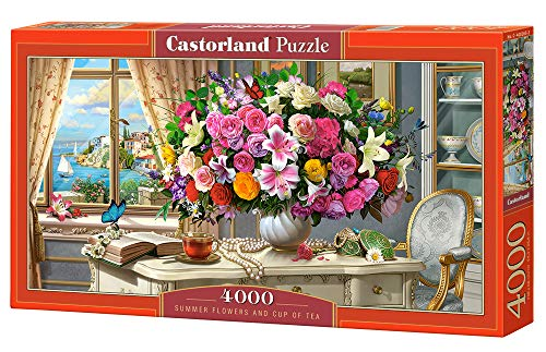 Castorland- Summer Flowers And Cup of Tea 4000 PCS Puzzle, Multicolore, C-400263-2