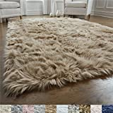 Gorilla Grip Original Premium Faux Fur Area Rug, 2 FT x 4 FT, Softest, Luxurious Carpet Rugs for Bedroom, Living Room, Luxury Bed Side Plush Carpets, Rectangle, Beige