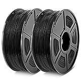 3D Printer PLA Filament 1.75, Black PLA Filament 1.75mm, Fit FDM 3D Printer, 1KG2 Spool, Dimensional Accuracy +/- 0.02 mm, PLA Black+Black