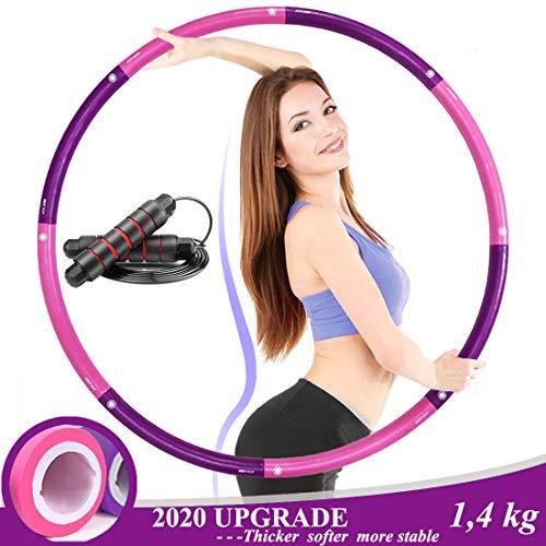 Aenamer Hula Hoop Reifen zur Gewichtsreduktion - Erwachsene Kinder Gewichteter Hula Hoop mit Schaumstoff, 8 Abnehmbare Abschnitte Fitness Reifen für Fettverbrennung Tanzen Yoga, 1,4kg