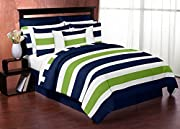 3 Piece Bedding Set: 1 Lightweight Full/Queen Comforter, 2 Standard Shams Dimensions: Lightweight Comforter - Full/Queen (86in x 86in), Standard Shams (20in x 26in) This bedding set boasts a large navy, lime green, and white stripe print and solid na...