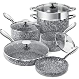 MICHELANGELO Stone Cookware Set 10 Piece, Ultra Nonstick Pots and Pans Set with Stone-Derived Coating, Kitchen Cookware Sets, Stone Pots and Pans Set, Granite Pots and Pans - 10 Piece