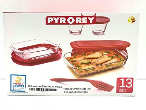 Juego Refractarios Pyrorey Combo 13 piezas con Tapas Plasticas Para Hornear de Vidrio Pyr o Rey Crisa Libbey 1710889