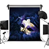 KSZUT 5x7FT Masquerade Mask Photography Backdrop Purple Mask Mysterious Backdrops for Birthday Party Decoration Banner 2439