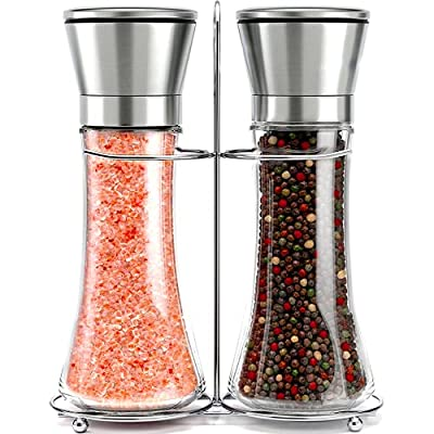 HIGH QUALITY GLASS AND STAINLESS STEEL GRINDER SET WITH STAND These salt and pepper shakers feature a modern design and are stylish and elegant enough for kitchen-to-table use! *Salt and pepper not included. BUILT FOR CONVENIENCE AND FUNCTION Unlike ...