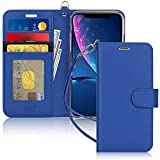 FYY Luxury PU Leather Wallet Case for iPhone Xr (6.1') 2018, [Kickstand Feature] Flip Folio Case Cover with [Card Slots] and [Note Pockets] for Apple iPhone Xr (6.1') 2018 Navy