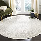 Safavieh Adirondack Collection ADR109C Ivory/Silver Vintage Oriental Distressed Area Rug 4' Round