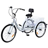 Ridgayard 7 Speed White 24 Inch 3 Wheel Adult Tricycle Cruise Cargo Bike with Folding Basket