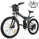 BIKFUN Vélo de Montagne Pliable pour vélo électrique, 26/20 pneus Vélo électrique pour vélo Ebike 250 W, Batterie au Lithium 36V 8Ah, Suspension Complète Premium, 21/7 Vitesses (26 Aventure Noir)