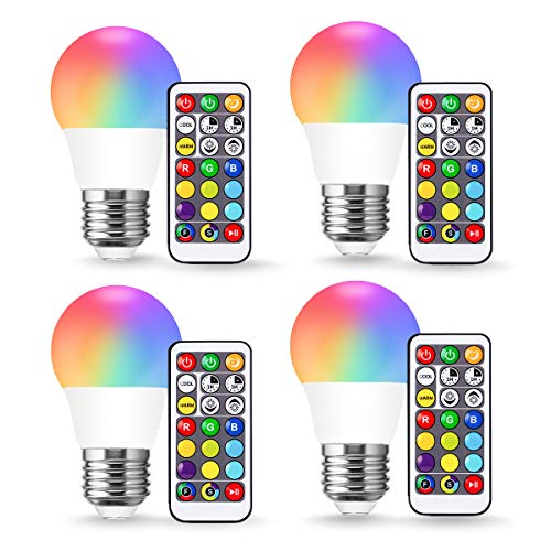 JandCase A15 Color Changing LED Bulbs, RGB+Warm+Daylight White(17 Color Choices), 3W Dimmable, E26 Base, Timing by Remote Control, Party Decor, Ceiling Fan, Table Lamp, 4 Pack