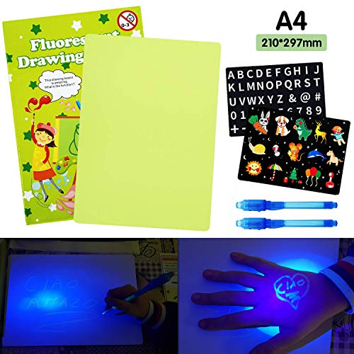 AGAKY Lavagna Luminosa per Disegnare Bambini Tavola da Disegno Fluorescente con Penna Magica...