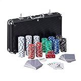 Relaxdays 10031552 - Maletín de póquer (300 fichas sin Valor, 2 Barajas de Cartas, 5 Dados, botón de deerer, con Llave, Aluminio, Color Negro)