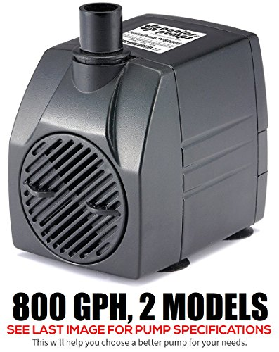 PonicsPump PP80006: 800 GPH Submersible Pump with 6' Cord - 60W… for Hydroponics, Aquaponics, Fountains, Ponds, Statuary, Aquariums, Waterfalls & more. Comes with 1 year limited warranty.