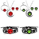 JOJO & LIN 8pcs/set Ladybug Pendant Necklace and Bracelet Earrings Set For Girls Children Toys Birthday Party Gift