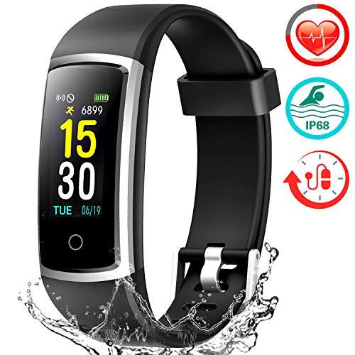 Fitness Armband mit Pulsmesser, Wasserdicht IP68 Pulsuhr Fitness Tracker Farbbildschirm Aktivitätstracker Fitness Uhr Schrittzähler Schlafmonitor mit Blutdruckmesser für Damen Herren Anruf SNS SMS