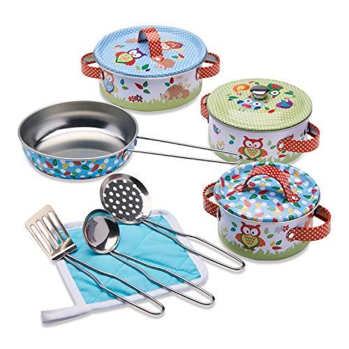 Wobbly Jelly - Set da Cucina Animali del Bosco per Bambini - Set da 11 Pezzi di pentole e padelle Giocattolo per Bambini - Accessori da Cucina Giocattolo