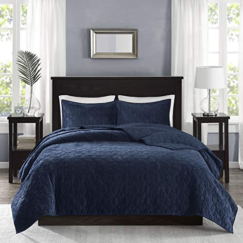 Madison Park Harper 3 Piece Coverlet Faux Velvet Solid Color with Geometric Double Sided Design Modern Luxe Quilt Hypoallergenic All Season Bedspread-Set Matching Shams, King/Cal King, Navy