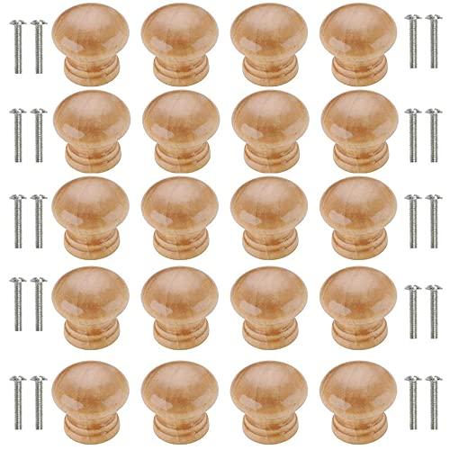 20 Pezzi Pomelli in Legno per Armadi, Manopole per Mobili Legno, Pomelli Rotondi Cassetti per Porte Legno, Singolo Foro Pomolo per Mobile in Legno con Viti per Armadietto, Cassetto