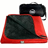 DOWN UNDER OUTDOORS Large Waterproof Windproof Extra Thick Quilted Fleece Stadium Blanket, Machine Washable Camping Picnic & Outdoor, Beach, Dog, 82 x 55 (red) Festival Baseball Folding Rug