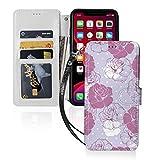ピンクと白のバラの花柄 Iphone11スマホケース 手帳型 レザー 財布型 ワイヤレス充電可能 マグ……