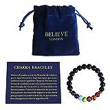 Believe London Bracelet Chakra avec Sac à Bijoux et Carte des Significations |...