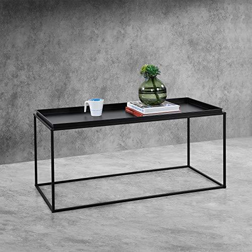 [en.casa] Tavolino Basso da caffè 47 x 100 x 50cm Tavolino in Metallo da Salotto/Soggiorno/Sala di Attesa con Superficie AntiGraffio - Nero Opaco