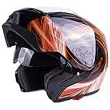 Typhoon G339 Modular Motorcycle Helmet DOT Dual Visor Full Face Flip-up - Orange Medium