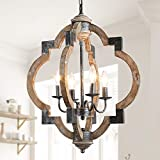 Farmhouse Chandelier, Pendant Lighting in Rustic Wood Finish, 19.7'' x 24.6'' Globe Light Fixtures for Kitchen Island, Hallway, Entryway, Dining Room