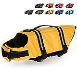 HAOCOO Dog Life Jacket Vest Saver Safety Swimsuit Preserver with Reflective Stripes/Adjustable Belt Dogs?Yellow,M