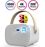 Mini Projector 4000 Lumens 3D Portable DLP Video Projector ±40° Keystone Built in Stereo Speaker...