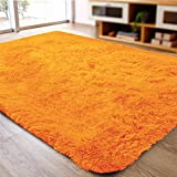 ACTCUT Super Soft Indoor Modern Shag Area Silky Smooth Fur Rugs Fluffy Rugs Anti-Skid Shaggy Area Rug Dining Room Home Bedroom Carpet Floor Mat 4- Feet by 5- Feet (Orange)