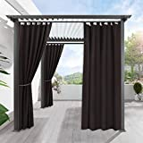 RYB HOME Patio Outdoor Curtain - Home Deor Outside Porch Curtain Stain Resist Terrace Shade for Lawn & Garden Blackout Waterproof Drapery, Single Panel, W 52 by L 108, Brown