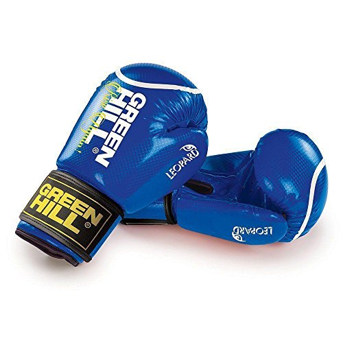 GREEN HILL Guanti Boxe Bambino Leopard GUANTONI Pugilato ANTISHOCK Boxing Bimbo Junior (Blu, 6 oz)