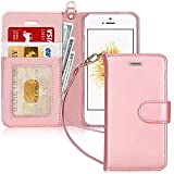 FYY Coque iPhone Se, Coque iPhone 5S, Coque iPhone 5, [Rose Or] Étui en Cuir PU...
